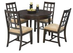 Casual Traditions Walnut Rubberwood MDF 5pc Round Dining Room Set