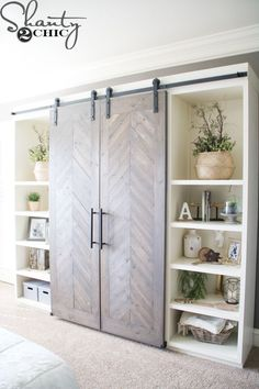 cool bookcase wall with sliding barn doors furniture storage DIY Sliding Barn Door Console Diy Sliding Barn Door, Diy Barn Door, Diy Door, Built In Wardrobe Ideas Sliding Doors, Sliding Wall, Double Barn Doors, Barn Door Media Console, Media Cabinet, Diy Living Room Decor