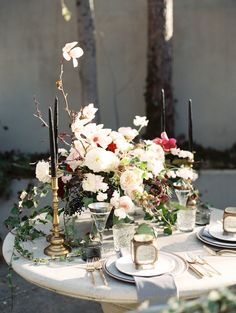 Elegant wedding table setting with floral centerpiece