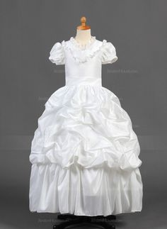 A-Line/Princess Floor-length Flower Girl Dress - Taffeta Short Sleeves V-neck With Ruffles/Lace/Pick Up Skirt Wedding Party Dresses, Bridesmaid Dresses, Bride Gowns, Special Occasion Dresses, Ruffles, Fashion Dresses, Flower Girl Dresses, Princess, Floor