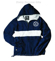 Navy Pullover Windbreaker Jacket with monogram Rugby Stripe