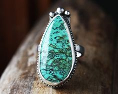 turquoise ring, sterling silver stone ring, big large green teardrop statement ring, size 8 8.25