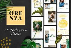 ORENZA - Instagram Stories by TempLabs on @creativemarket Social media creative design posts for promotion marketing design templates. Use it for quotes, tips, photos, etiquette, ideas, posts or for presentation your business agency, products sales or designs. Ready to use on Instagram, Pinterest, Facebook, Twitter your Blog or Website.
