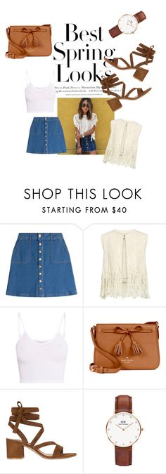 """""""HOW TO: denim skirt (sincerely jules)"""" by zorzette ❤ liked on Polyvore featuring H&M, HUGO, Sea, New York, BasicGrey, Kate Spade, Gianvito Rossi and Daniel Wellington"""