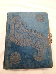 Antique Victorian Blue Velvet Portrait Photograph Book Album