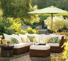 DIY Outdoor Patio Furniture and Decor to Start Summer with Fresh Garden Look: Cushions For Outdoor Patio Furniture With Green Patio Umbrellas ~ etikaprojects.com DIY Furniture Inspiration