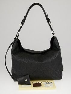 butter soft leather. Louis Vuitton Black Monogram Leather Antheia Hobo PM Bag