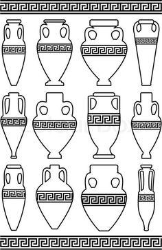 Risultati immagini per ancient greek vase shapes Ancient Greek Art, Ancient Greece, Greek Pattern, 6th Grade Art, Fractal, Art Diy, Keramik Vase, Vase Shapes, Thinking Day