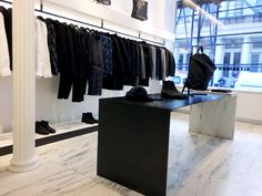 Modern fashion display at Alexander Wang in New York. Retail Interior design and merchandising
