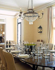 High ceilings bring a sense of volume to the dining room.