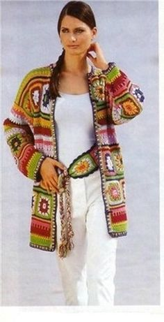 """Crochet Granny Square Jacket C"", ""~ lots of granny square photos;"", ""Brilliant 'granny' jacket::: Love the combination of colors."", ""This desig Crochet Bolero, Cardigan Au Crochet, Beau Crochet, Pull Crochet, Gilet Crochet, Mode Crochet, Crochet Coat, Crochet Jacket, Freeform Crochet"
