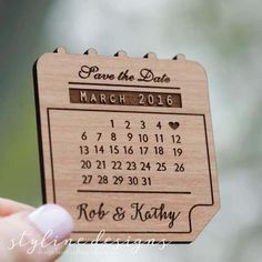 50+ Calendar Save the Date Magnets - Laser cut and Etched on Wood by StylineDesigns on Etsy https://www.etsy.com/listing/233079886/50-calendar-save-the-date-magnets-laser