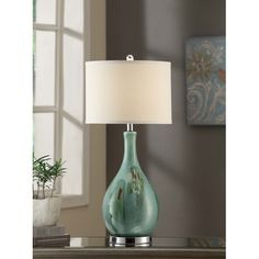 """Found it at Wayfair - Manhattan Sea Scape 30"""" H Table Lamp with Drum Shade"""