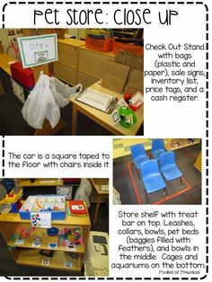 Create a Pet Store in the dramatic play center!  Up close photos showing you how to do it and infuse math and literacy throughout the center!  Pocket of Preschool