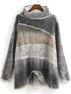 Grey High Neck Long Sleeve Fringe Sweatshirt