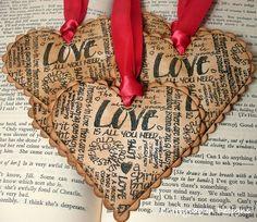 Vintage looking heart tags