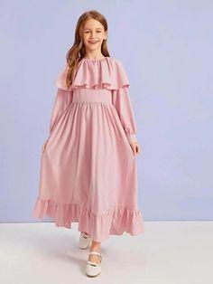 Girls Zipper Back Ruffle Detail Flare Dress – Kidenhouse Girls Dresses Sewing, Dresses Kids Girl, Cute Girl Outfits, Cute Dresses, Kids Outfits, Dress Anak, Girl Dress Patterns, Birthday Dresses, Flare Dress