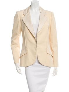 Creme Marc Jacobs wool blazer with dual faux flap pockets at sides and hook-and-eye closures at front.