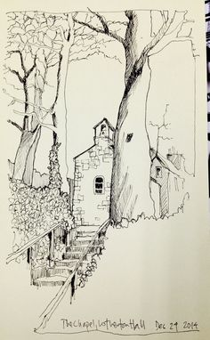 Ink sketch in my Moleskine -the old Chapel at Lotherton Hall  drawn on Christmas Eve