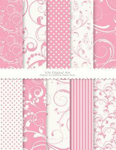 "Swirls Digital Scrapbook Paper Pack (8.5x11""-300 dpi) -- Instant Download -- 10 Digital papers -- 125"
