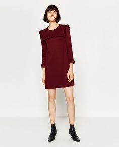 Love the option of this over leggings if she wears a dress over leggings as a younger girl, with flat ankle boots  A-LINE DRESS WITH FRILLS from Zara