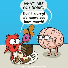 Humor In Dites & Fitness ☤ MD ☞✪ The Awkward Yeti comics. Discovred by : MediaMed Funny Cartoons, Funny Memes, Hilarious, Workout Humor, Gym Humor, Exercise Humor, Fitness Humor, Cute Comics, Funny Comics