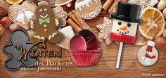 Backzubehör für das Backen im Winter! Tolle Ausstecher, Muffinförmchen und winterliches Cupcake Zubehör.