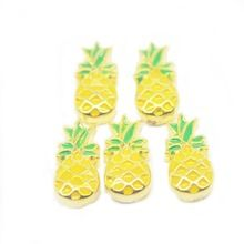 Hot Sale free shipping jewelry gold ananas pineapple floating charms 10pcs for glass lockets,D-82-1(China (Mainland))