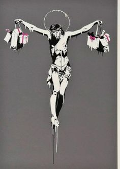 Banksy features in Stoke Newington street art exhibition via @hackneygazette #OOH Christ with shopping bags