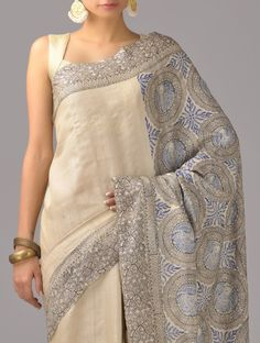 Beige tusar silk saree from Jaypore. Sarees in textured silk, like raw silk or tussar are a league of their own.