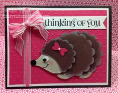 "The newest addition to the Suitably Stamped Punch Art Critter Family...Meet ""Olive"" the Hedgehog.  #StampinUp  #disneysuitsme.blogspot.com #Michelle Suit"
