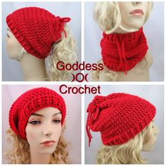 Easy to work up convertible ponytail hat/cowl. Free crochet pattern.