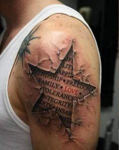 Stonework Tattoo Star - Letters