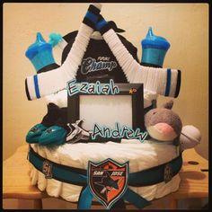 San Jose Sharks diapercake #SanJoseSharksFood #SanJoseSharks #SharksTerritory