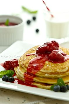 Buttermilk Pancakes with Strawberry Sauce | JustOneCookbook.com