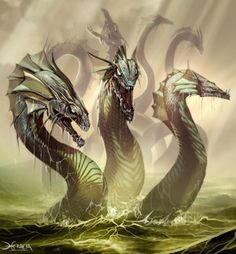 This monster from Greek mythology is called a hydra and is significant because it is the antagonist in many Greek myths including the Second Labor of Hercules. The hydra is a serpent like monster that grows multiple heads in the absence of the first. Greek Monsters, Myths & Monsters, Sea Monsters, Greek And Roman Mythology, Greek Gods, Magical Creatures, Fantasy Creatures, Greek Mythical Creatures, Greek Mythological Creatures