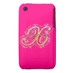 Gold & Diamonds  Pink and Cute iPhone Case with Your Initial ''X''.
