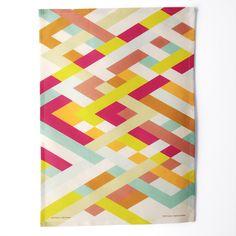 Latticework Tea Towel - linen cotton everyday art. $25.00, via Etsy.