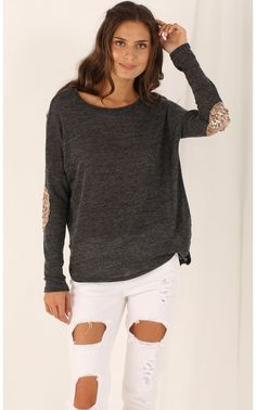 Tops > Patched Elbow Jumper in Charcoal