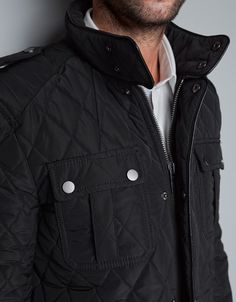 quilted parka w/ faux leather pipping September - Man - Lookbook - ZARA