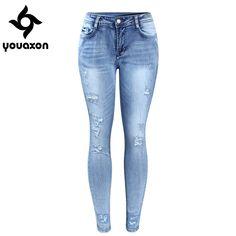 Abetteric Womens Cotton Ripped Hole Leisure Bodycon Stretch Boyfriend Jeans