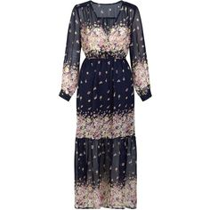 Mela Navy Long Sleeve Floral Print Maxi Dress ($43) ❤ liked on Polyvore featuring dresses, long sleeve v neck dress, long sleeve floral dress, blue floral dress, navy dress and floral maxi dress