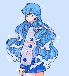 Fashion Anime Blue Hair Estético Anime Blue Hair Estético The Effective Pictures We Offer Yo Art Kawaii, Arte Do Kawaii, Cute Kawaii Drawings, Aesthetic Drawing, Aesthetic Art, Aesthetic Anime, Character Aesthetic, Korean Aesthetic, Aesthetic Pastel