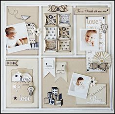 Like how this layout is divided into sections Baby Scrapbook Pages, Papel Scrapbook, Scrapbook Supplies, Scrapbook Cards, Hobbies And Crafts, Diy And Crafts, Paper Crafts, Scrapbook Layout Sketches, Scrapbooking Layouts