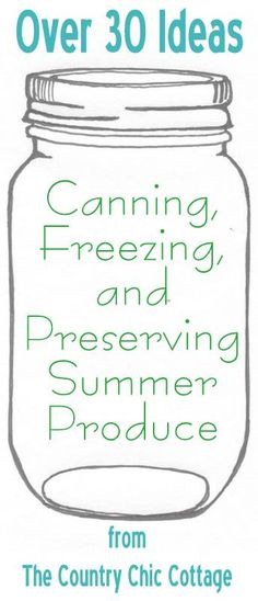 Your ultimate guide to canning, freezing and preserving your summer produce.  Preserve that summer bounty with these great ideas.