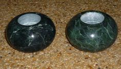 Instans IKEA of Sweden Round Green MARBLE Candle Tea Light Holders Set 2