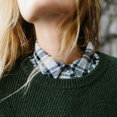 madewell moderne sweater worn with the flannel boyshirt.