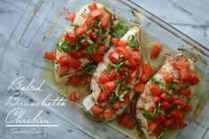Baked Bruschetta Chicken. Delicious! I loved it, but of course, I love this basic bruschetta.