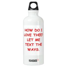 TEXT ALUMINUM WATER BOTTLE - romantic gifts ideas love beautiful
