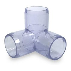 "1/2"" Clear 3-Way PVC Elbow Corner Fitting - Furniture Grade"